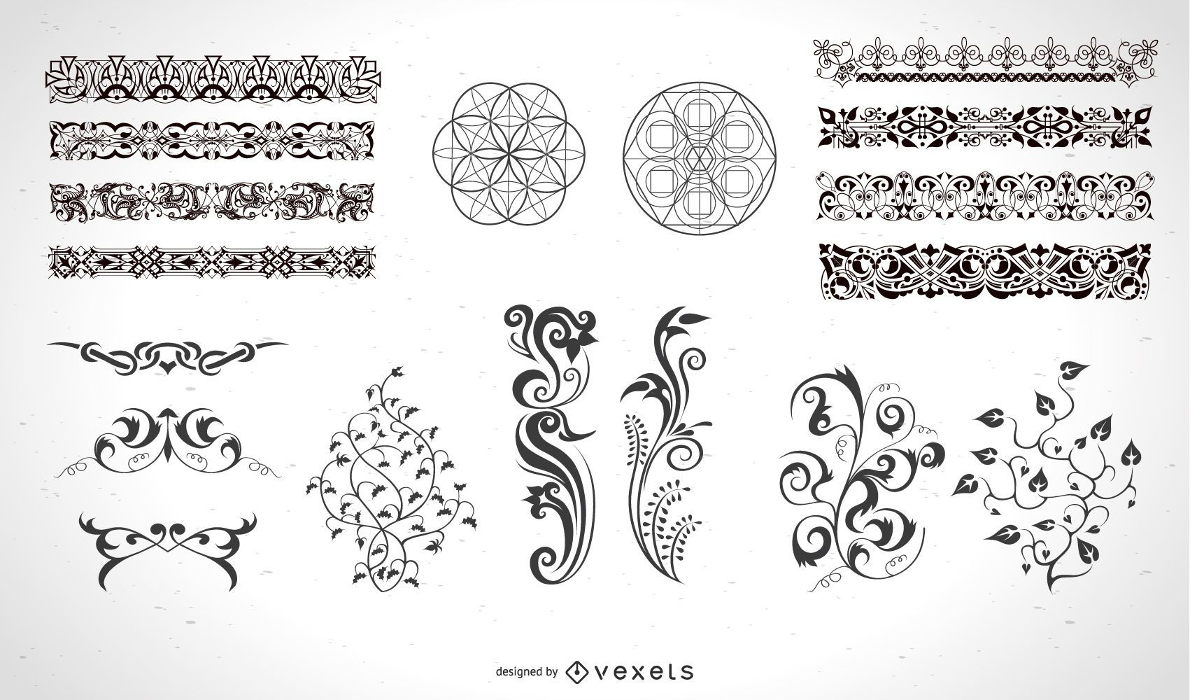 Calligraphic elements and page decorations