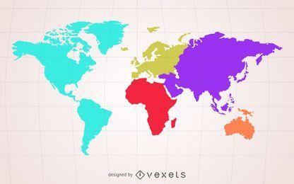 Silueta de mapamundi color crema