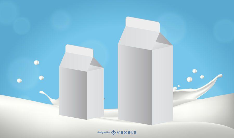 Modelos de embalagem de leite