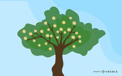Paisaje primaveral con árboles y flores.