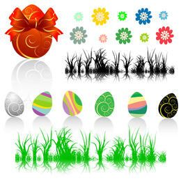 Easter collection - eggs, flowers and grass