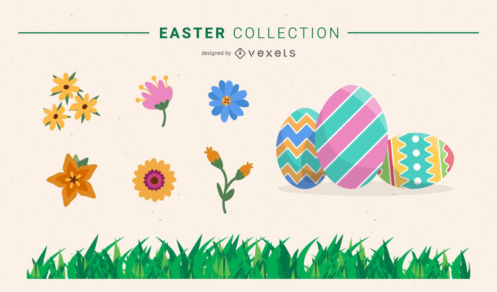 Colección de pascua - huevos flores y pasto