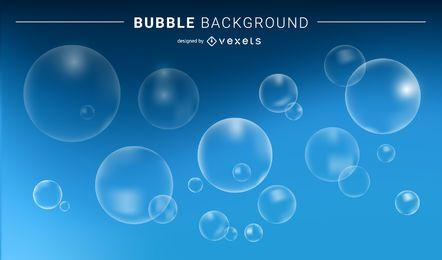 Burbujas transparentes y fondo azul.