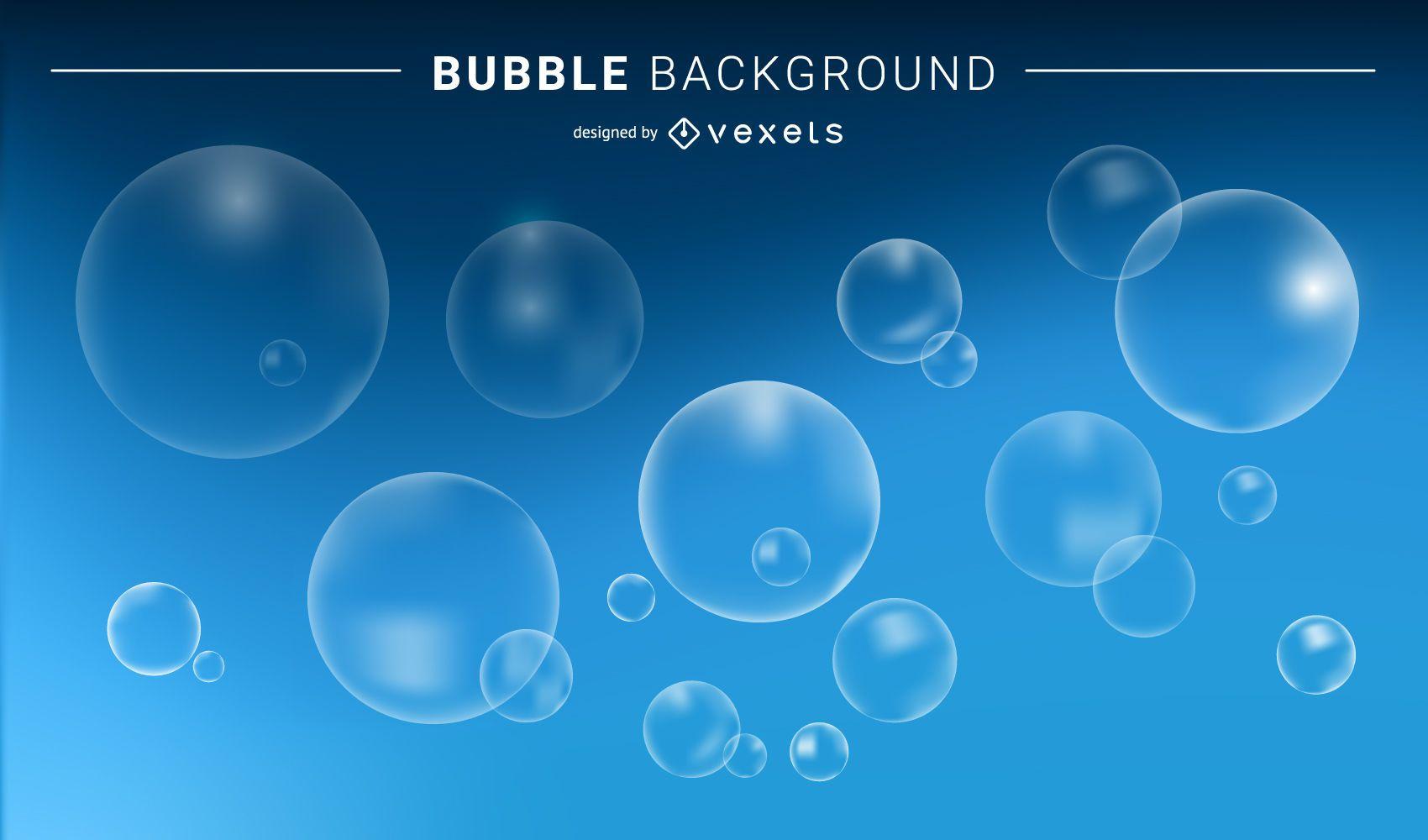 Transparent bubbles and blue background