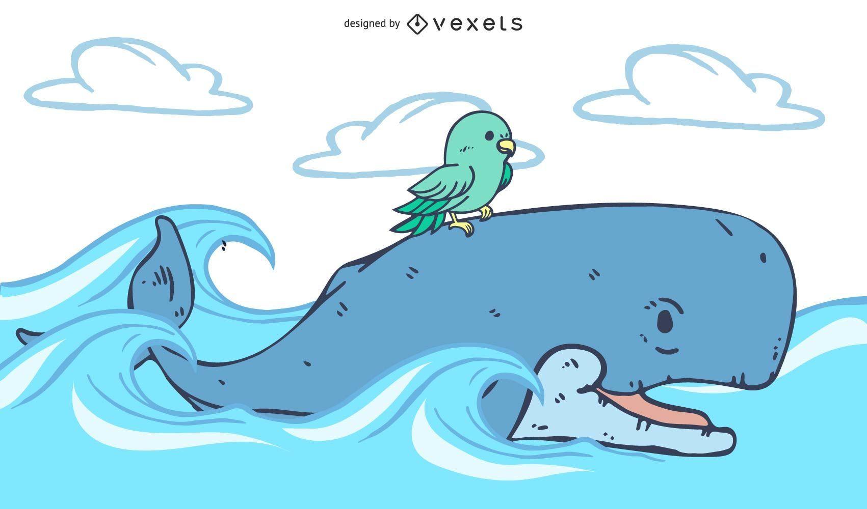 A baleia ajuda para um passarinho