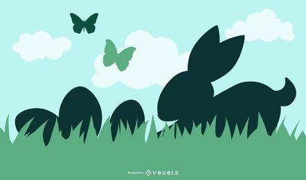 Conejo De Pascua Y Huevos Con Hierba