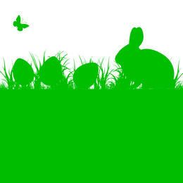 Easter Rabbit and Eggs with Grass