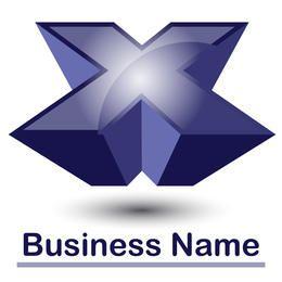 X logo azul abstracto