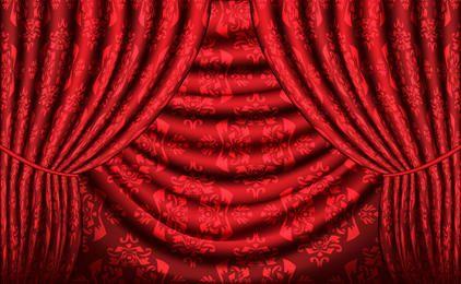 Cortina de vetor vermelho com textura vintage