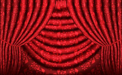 Red vector curtain with vintage texture