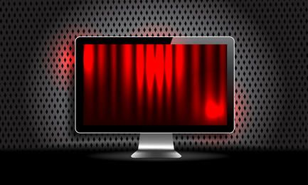 Design escuro com monitor LCD
