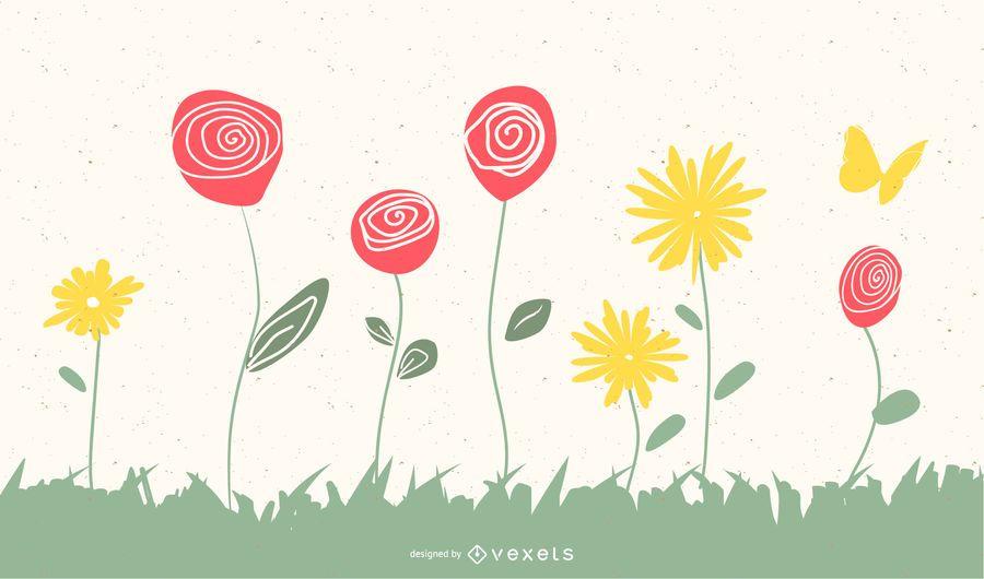 Spring scribble free vector