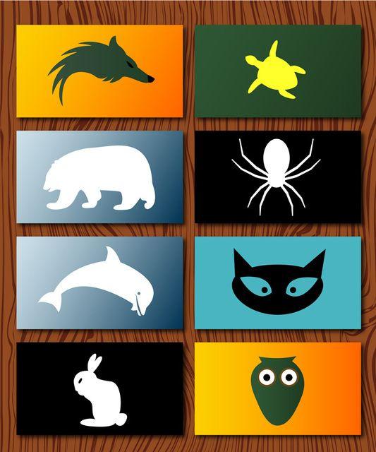Cartões de visita e logotipo de animais