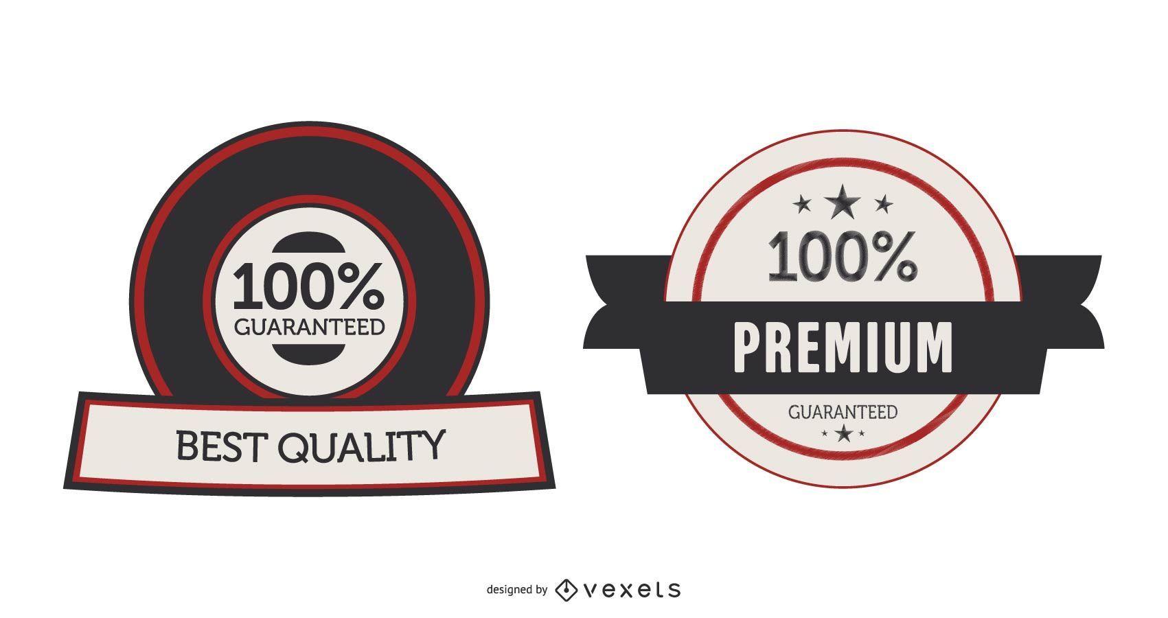 Etiquetas ou adesivos de garantia de vetor