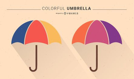 Bunter Regenschirm - kostenlose Vektorgrafiken