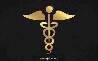 Signo de caduceo médico dorado