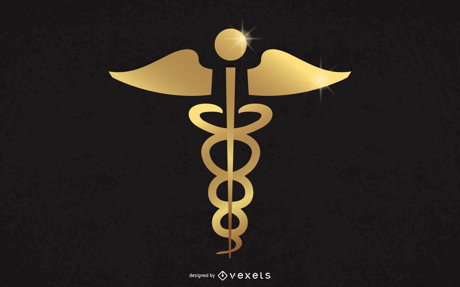 Gold Medical Caduceus Sign
