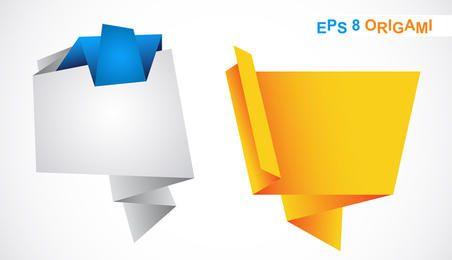 Balões de fala de origami