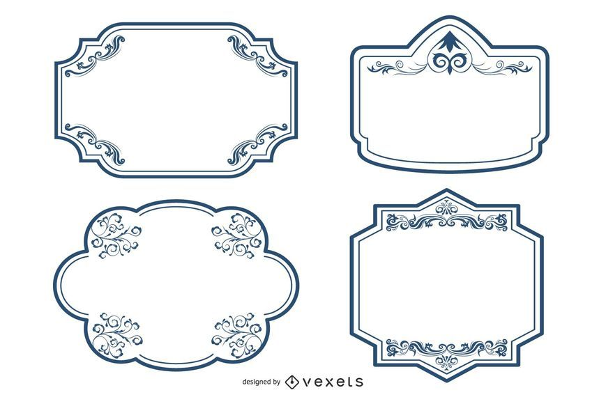 Decorative ornate frames set