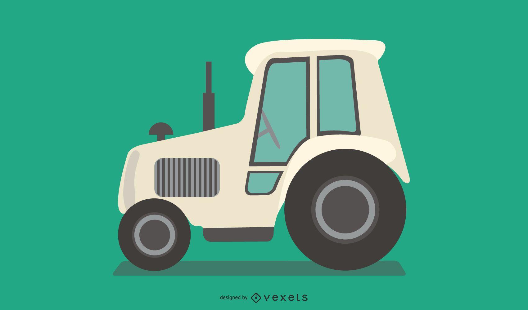 Ilustración de tractor blanco plano