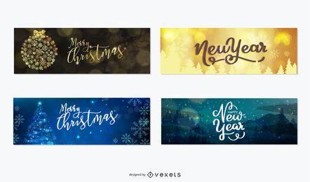 Banners de navidad y año nuevo