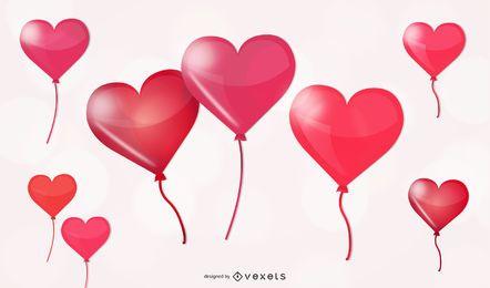 Balões em forma de coração