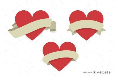 Corações de vetor com fitas