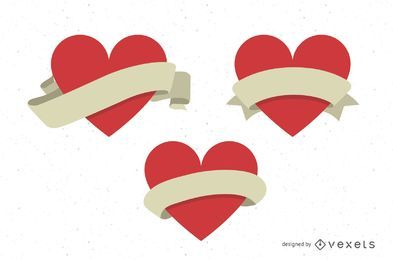 Vector Hearts With Ribbons