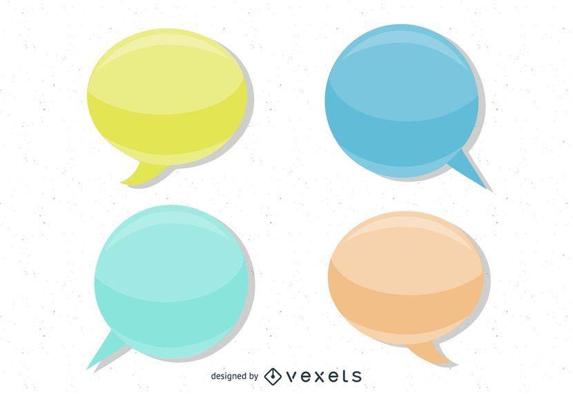Glossy Vector Speech Bubbles