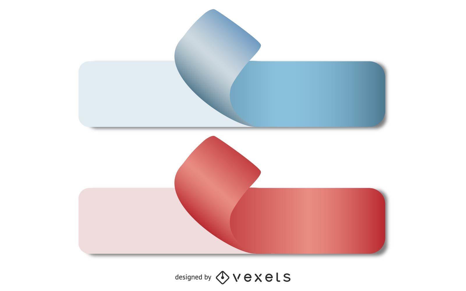 Vector pegatinas de papel rizado