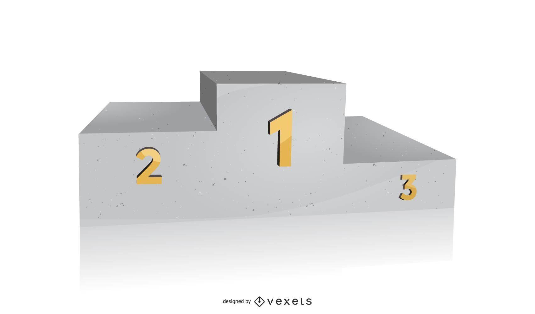 Podio de piedra vectorial 3D