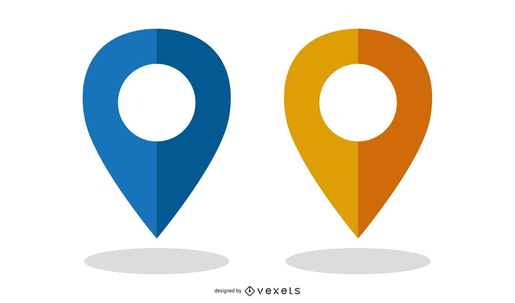 Marcadores de mapa vectorial