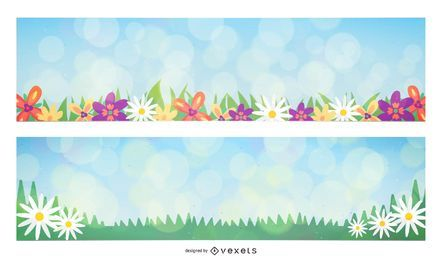 Banners de primavera Bokeh