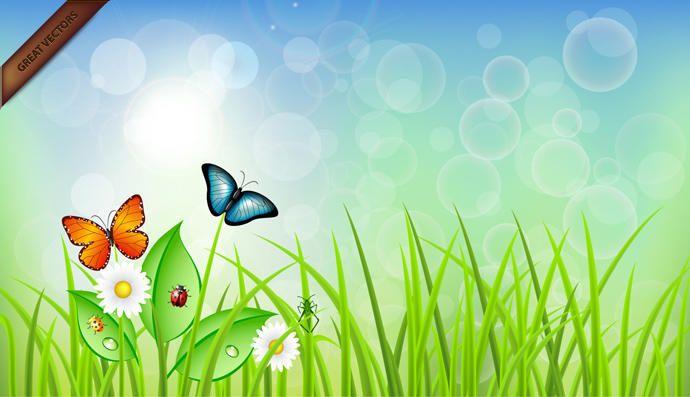 Primavera Paisaje vectorial - Descargar vector
