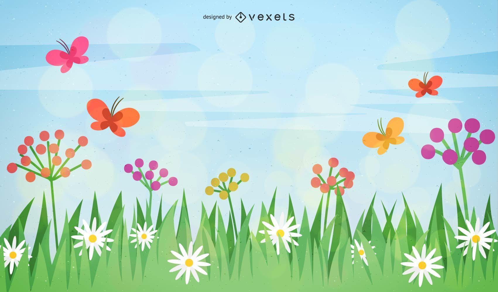 Paisaje de vector de primavera