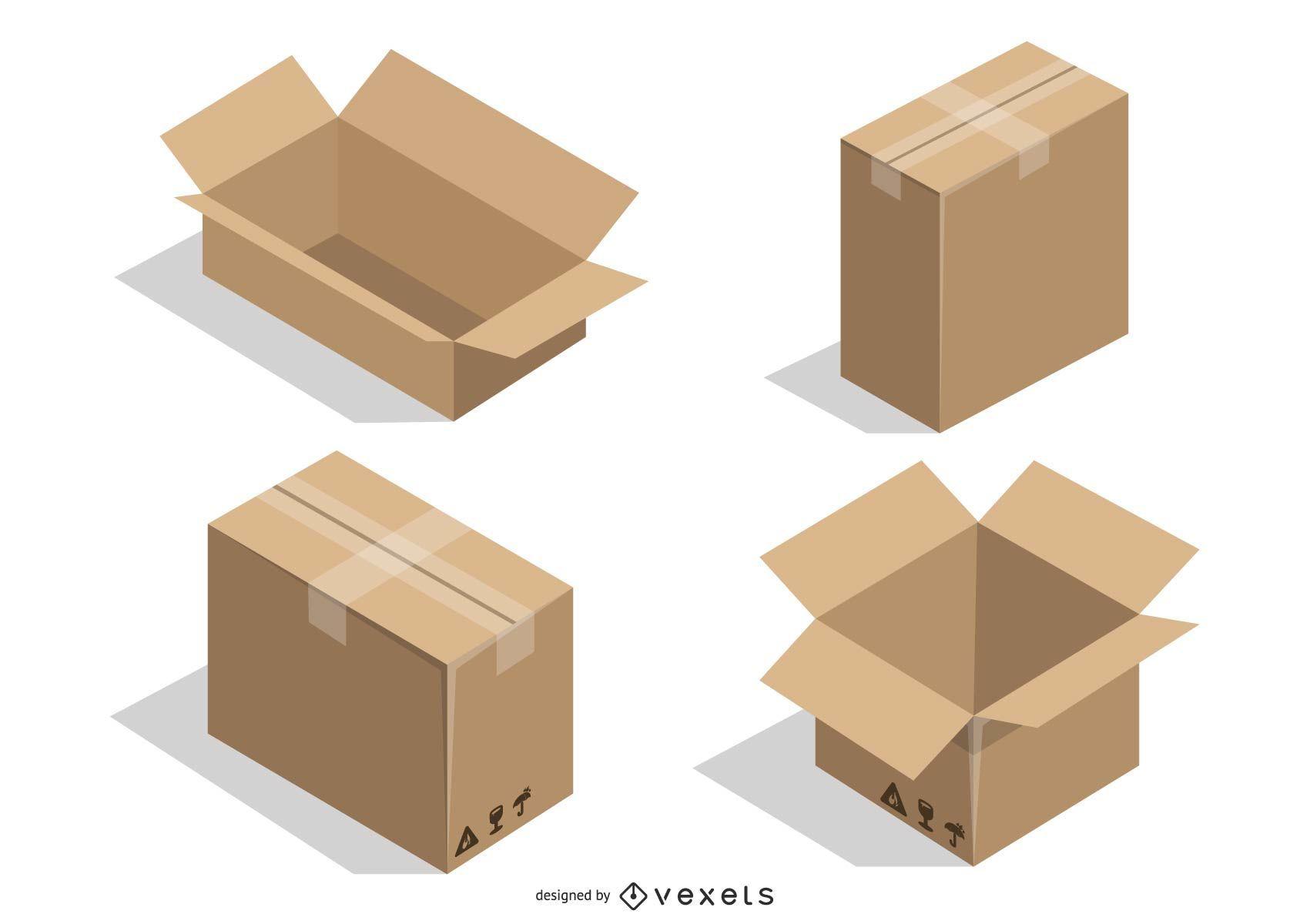 Vector Cardboard Boxes