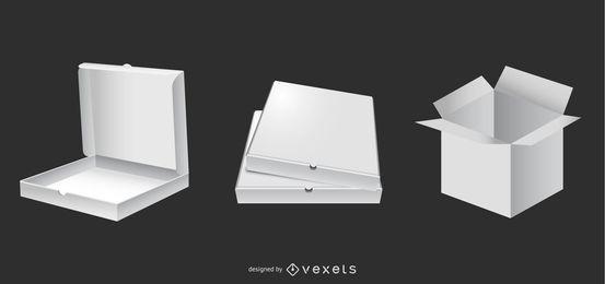 Conjunto de caja de embalaje blanco