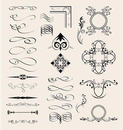 Elementos caligráficos de vetor