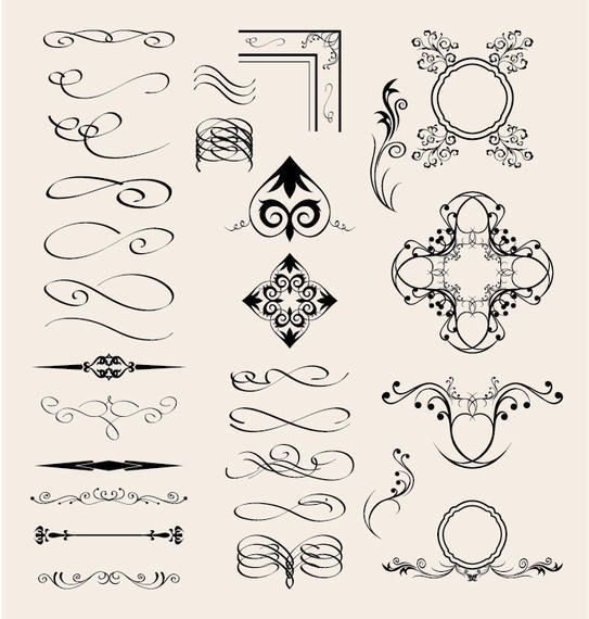 Vector Calligraphic Elements