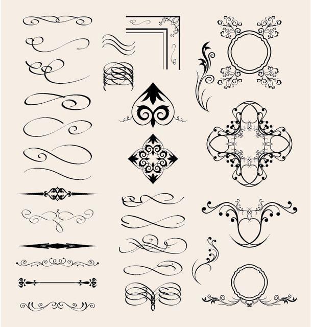 Elementos caligráficos vectoriales
