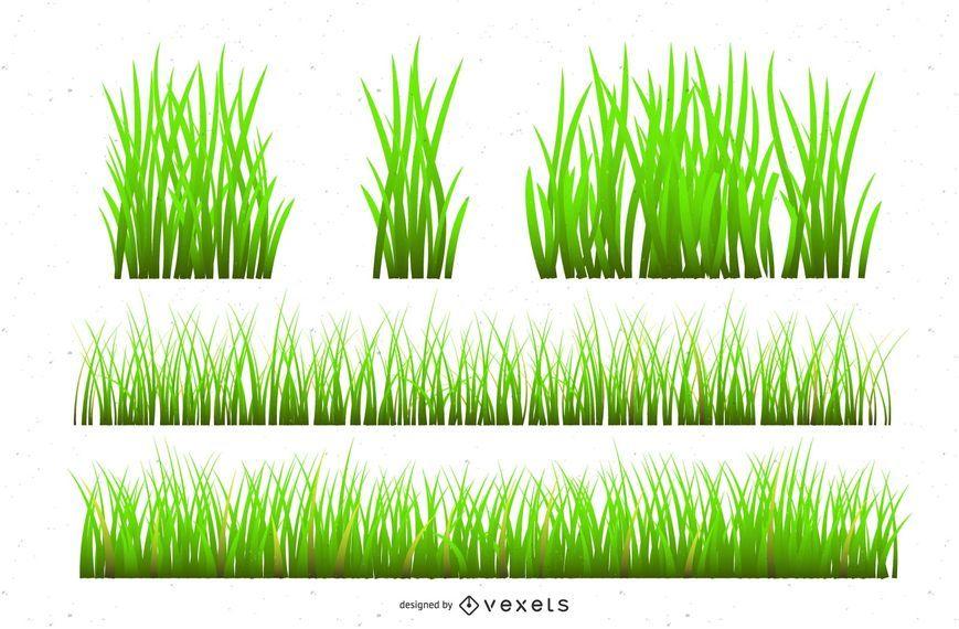 Realistic grass illustration set