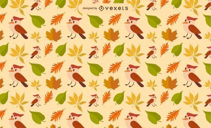 Fall Leaf Bird Vector Pattern