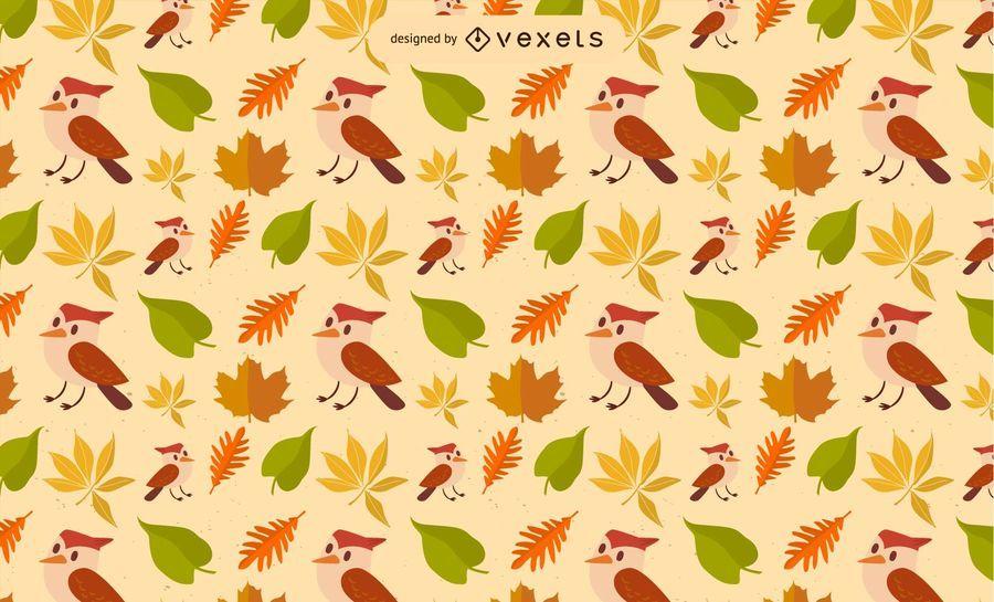 Fall Leaf Bird Vector Pattern