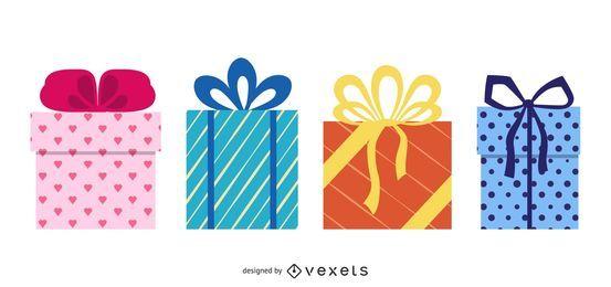 Geschenkbox Set Flaches Design