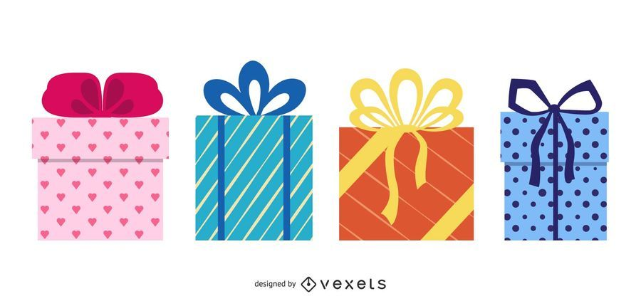 Gift Box Set Flat Design