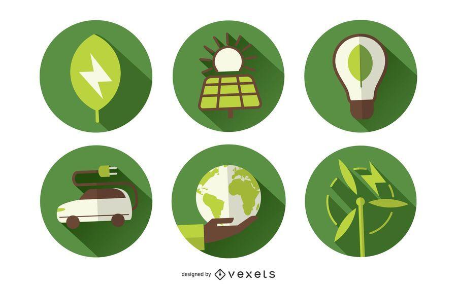 Iconos y etiquetas de ecología 3D