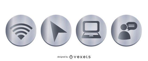 Conjunto de iconos de metal web