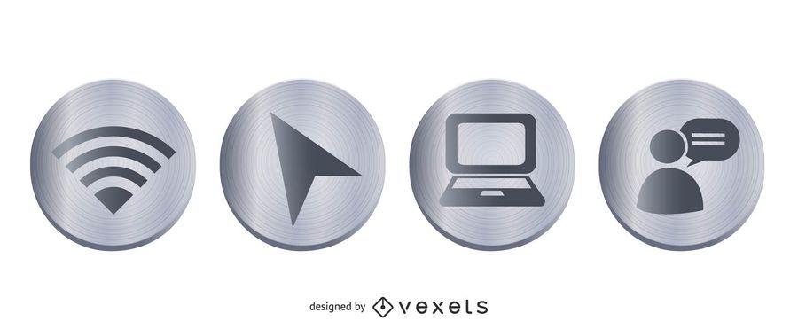 Botões de metal de vetor