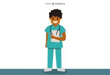Diseño de vector de personaje de médico masculino