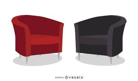 Conjunto de vectores de sofá de cuero